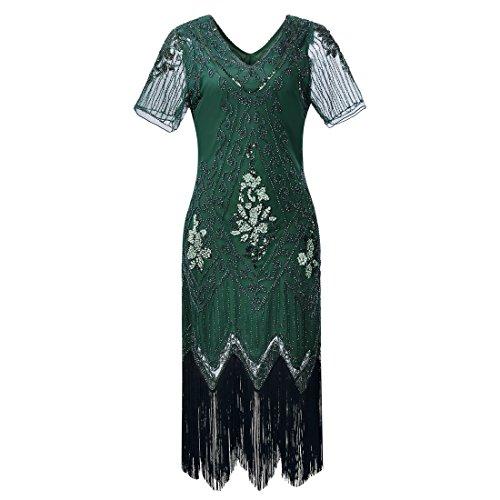 Gatsby elegantes Flapper-Kleid mit Ärmeln für Damen im Stil der 1920er-Jahre, Vintage, mit Pailletten, Fransen, Perlen, Art déco, Kostüm für Partys und Bälle Gr. L, dunkelgrün