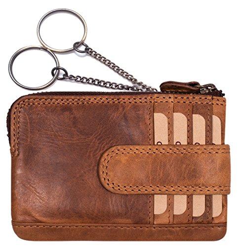 Hill Burry echt Leder Schlüsseletui | Schlüsselmappe mit 2 Schlüsselringe | Schlüsseltasche mit Kleingeldfach | Mini Börse mit Kreditkartenfächer | Schlüsselanhänger - Portemonnaie (Braun)