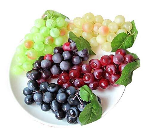 Qchengsan Verde Amarillo Morado Negro Artificial Alta Simulación Grapas, Falso Fruta Fake Grapes, Cocina, Oficina y Fotografía Props (CS-FZSG02) (4 Colores)