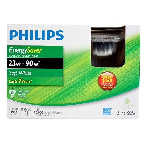 Philips 408922 Energy Saver Compact Fluorescent 23-Watt PAR38 Indoor/Outdoor Flood Light Bulb, 2-pack