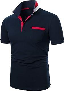 IVAN-LI Polos Hombre Mangas Corta Contraste Cuello Camiseta Deporte Poloshirt Tops