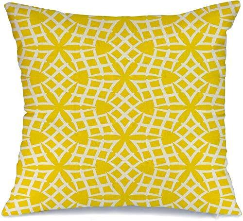 Decoración Throw Pillow Cover Funda de cojín Forma Amarillo 1930S Simple Elegante Patrón lineal 1920 Resumen Navidad Crochet Damasco Verano Funda de Cojine 45 X 45CM
