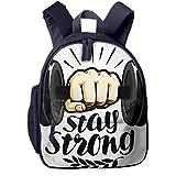 Kinderrucksack Kleinkind Jungen Mädchen Kindergartentasche Hantel stark bleiben Backpack...