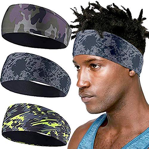 MINGYUAN Stretchy Tennis Stirnband, Herren und Damen Schweißband Anti Rutsch zum Jogging, Laufen, Wandern, Fahrrad - Breathable 3 Pack