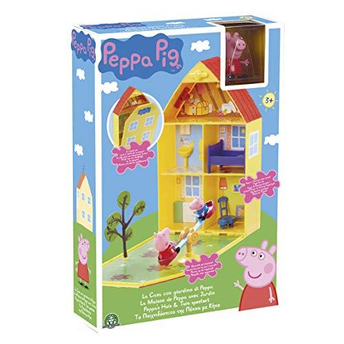 Peppa Pig, la casa di Peppa con giardino e 2 personaggi, statuine, mobili e accessori, pratica maniglia per il trasporto, giocattolo per bambini dai 3 anni