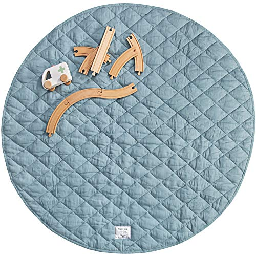 Baby Play Mat | Pure French Flax Linen Tummy Time Mat | Luxury Quilted Play Mats for Infants | Babies amp Kids Playmat for Crawling amp Playing Blue Dust Round