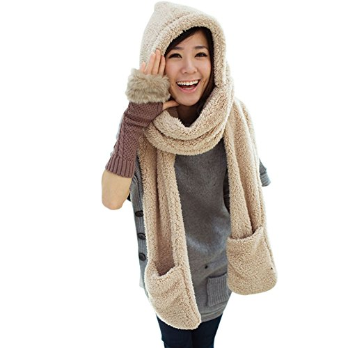 Espeedy Bufandas mujer,Invierno mujeres cálidas con capucha guantes de bolsillo earflap sombrero largo bufanda chal redecilla envuelve (caqui)