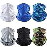 6 Stück Schlauchschal Multifunktionstuch Schal Herren Damen Gesichtsmaske Damen Elastisch Sonnenschutz Verschleißfest Schlauchschal Halstuch Maske für Motorrad Laufen Wandern (A)