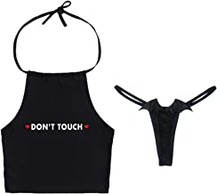 YOMORIO Womens Sexy Crop Tops Lingerie with Devil Angel Wings Thongs Anime Cosplay Bra and Panty Set