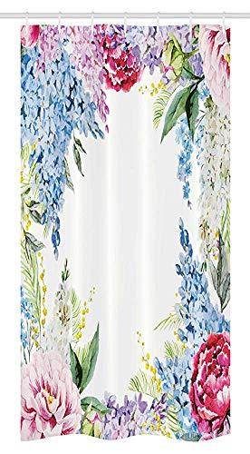 36x72 inch, douchegordijn, lente geur slinger bos van bloemen lila lavendel rozenpioen print, stof badkamer set met 12 haken