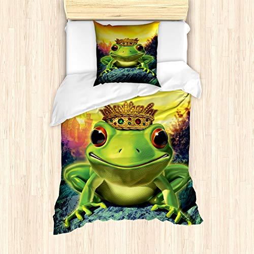 ABAKUHAUS Tier Bettbezug Set für Einzelbetten, Froschkönig mit Krone, Milbensicher Allergiker geeignet mit Kissenbezug, Grün Gelb