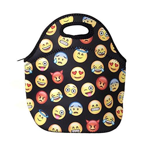 ALLYDREW Insulated Neoprene Lunch Bag Zipper Lunch Box Tote, Emoji