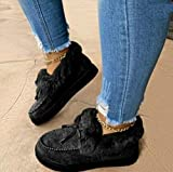 Kandylane Casual Fashion Flat Boots,corashoes Casual Fashion Flat Boots,Casual Fashion Flat Boots Comfortable Thick Plush Keep Warm Sneakers,The Best for Girlfriend, Daughter,Mother (Black, 5)