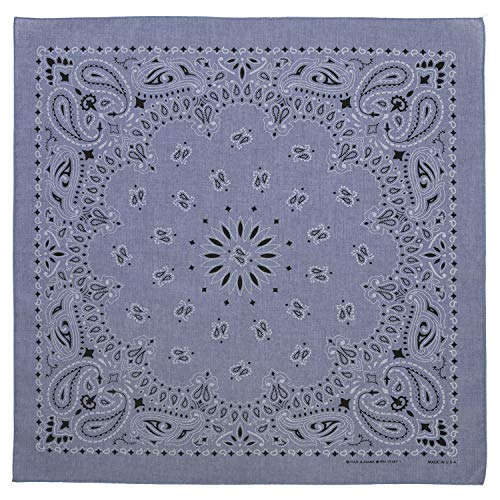 100% Cotton Western Paisley Bandanas (22 inch x 22 inch) Made in USA - Chambray Blue Single Piece 22x22 - Use For Handkerchief, Headband, Cowboy Party, Wristband, Head Scarf - Double Sided Print