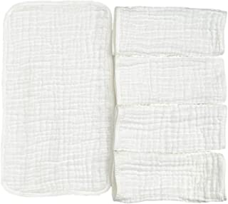 "Muslin Burp Cloths, 5 Pack, 100% Cotton, Soft, White, Large 20""x10"", for Babies"