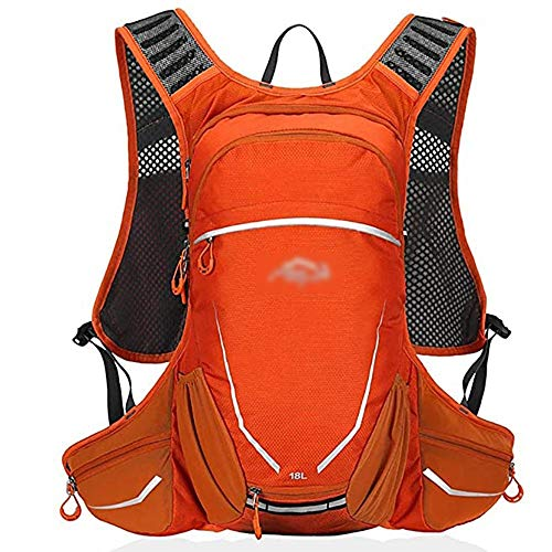 Mbags Running Backpack Biking Daypack Bike Rucksack Cycling for Sports Travelling Mountaineering Hiking Hydration Pack Men Women 18L (Color : Orange)