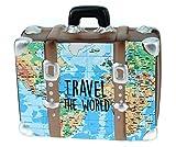 Hucha con forma de maleta con mapa, para vacaciones o para viajes por el mundo