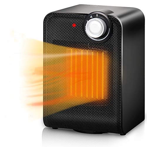 TRUSTECH Portable Ceramic Space, 1500W with Adjustable Thermostat, Tip-Over & Overheat Protection, Fast Heating Oscillating Desk Floor Fan Office Home Indoor Use, Black 1603 heater
