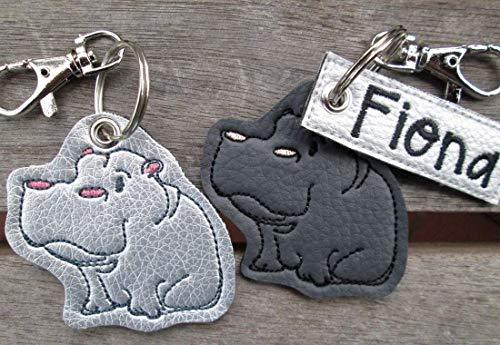 NILPFERD Hippo personalisierbar mit Namen Schlüsselanhänger Taschenanhänger tolles kleines Geschenk Muttertag