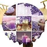 Spa Decor Camping Mantel redondo Lavanda Jardín Igual Velas Relajantes Piedras Y Hierbas Sal Imagen Para Fiestas Púrpura y Blanco Diámetro 71 Pulgadas