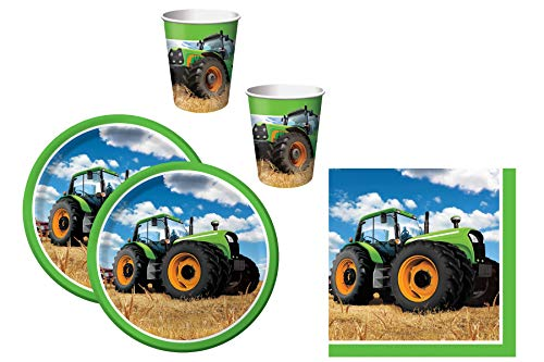 48Tlg. Party Set Traktor (Teller, Becher, Servietten) Für 16 Kinder
