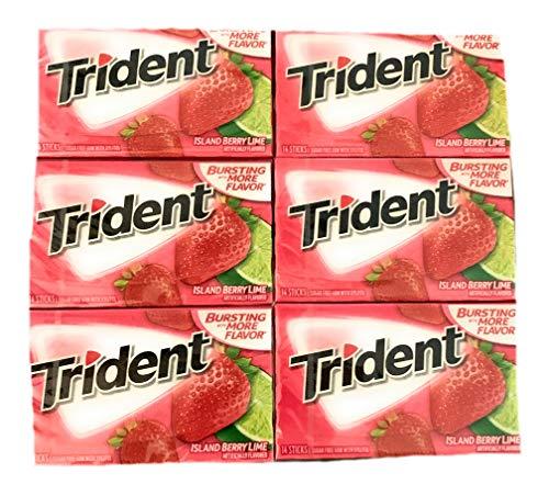 Trident Island Berry Lime Gum | Trident Sugarfree Gum | Pack of 6 | 14 Sticks Per Pack