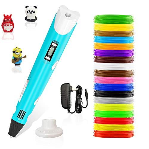 Stylo 3d,Lovebay3d impression pen avec écran LED,compatible avec filament PLA/ABS +18 multicolores,3d professionnel pen conformes aux...