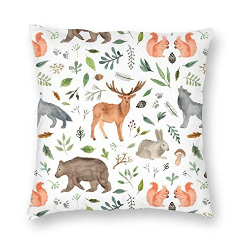 jhgfd7523 Watercolor Woodland Animals Velvet Soft Decorative Square Throw Pillow Case Cushion Cover Pillowcase for Livingroom Sofa Bedroom with Invisible Zipper 20x20 Inches
