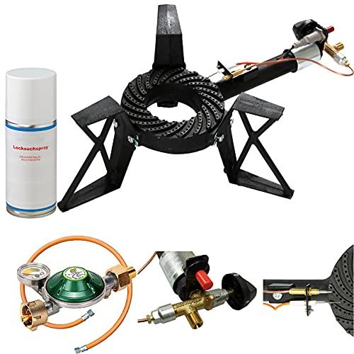 CAGO 3-Bein Gas-Hockerkocher 10,5 kW Gasbrenner Gaskocher mit Zündsicherung Piezozündung Gasschlauch Gasregler mit Manometer Lecksuchspray 3-Fuss