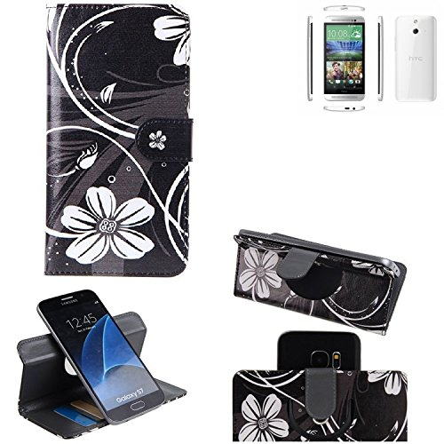 K-S-Trade® Schutzhülle Für HTC One (E8) Hülle 360° Wallet Case Schutz Hülle ''Flowers'' Smartphone Flip Cover Flipstyle Tasche Handyhülle Schwarz-weiß 1x