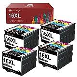 Toner Kingdom Cartucho de Tinta Compatible para Epson 16XL 16 XL para Epson Workforce WF2630 WF2510 WF2760 WF2530 WF2520 WF2540 WF2750 WF2660 WF2650 WF2010 (8 Negro, 4 Cian, 4 Magenta, 4 Amarillo)