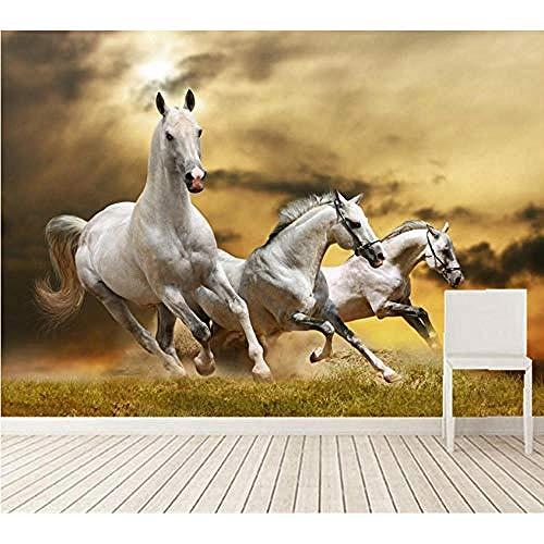 Mrlwy 3d papel tapiz de pared extraíble árbol caballos corriendo en el prado foto papel tapiz de pared aper de la sala de estar sofá tv pared dormitorio 3d-400X280cm