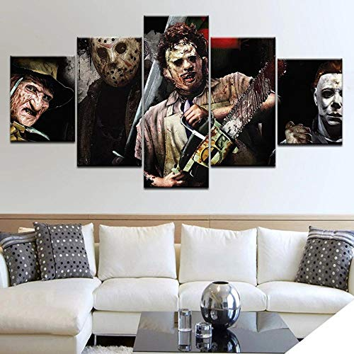 XIAYF 5 piezaslienzo de Pintura de sobre Lienzo Película del Asesino de Motosierra Arte de Pared para Oficina y decoración de Pared del hogar