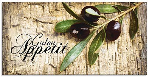 Artland Küchenrückwand Glas mit Motiv Spritzschutz 100x50 cm Spruch Guten Appetit Olivenzweig Kräuter Olive Gewürze Mediterran Braun H6ZI