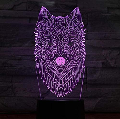 Luz de noche 3D para niños con lámpara de decoración de dibujos animados de lobo cara 3D lámpara increíble visualización ilusión óptica decoración del hogar regalo de cumpleaños para niños