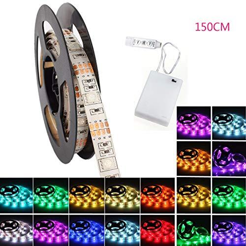 LED Strip, GLISTENY LED Streifen 150cm Wasserdicht 5050SMD 150 LED RGB Strip Full Kit - LED Streifen mit RF Mini Controller und Netzteil