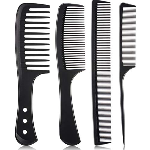 4 Pieces Carbon Fiber Hair Comb Set, Fine and Wide Tooth Comb, Rat Tail Comb Pintail Comb, Wide Tooth Detangling Comb and Anti-Static Heat Resistant Styling Comb for Most Hair Types