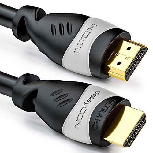 deleyCON 5m HDMI Kabel - Kompatibel zu HDMI 2.0a/b/1.4a UHD Ultra HD 4K HDR 3D 1080p 2160p ARC TV LED Beamer OLED PC - Schwarz Grau