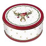 Grätz Verlag Keksdose 'Weihnachtshirsch'   Retro Plätzchendose für die Weihnachtskonditorei   Weihnachtliche Dose für Kekse, rot, aus Blech, rund, ca. 10,5 cm hoch