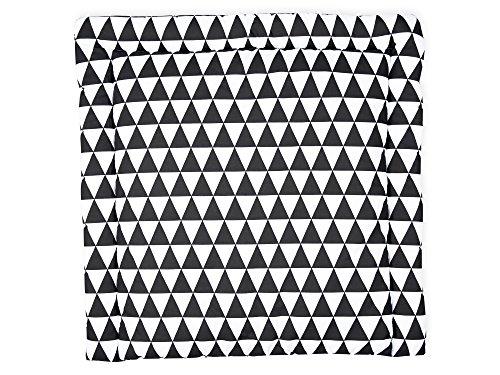 KraftKids SDW112-78 Wickelauflage in schwarze Dreiecke, Wickelunterlage 78x78 cm (BxT), Wickelkissen, mehrfarbig, 840 g, 78 x 78 cm