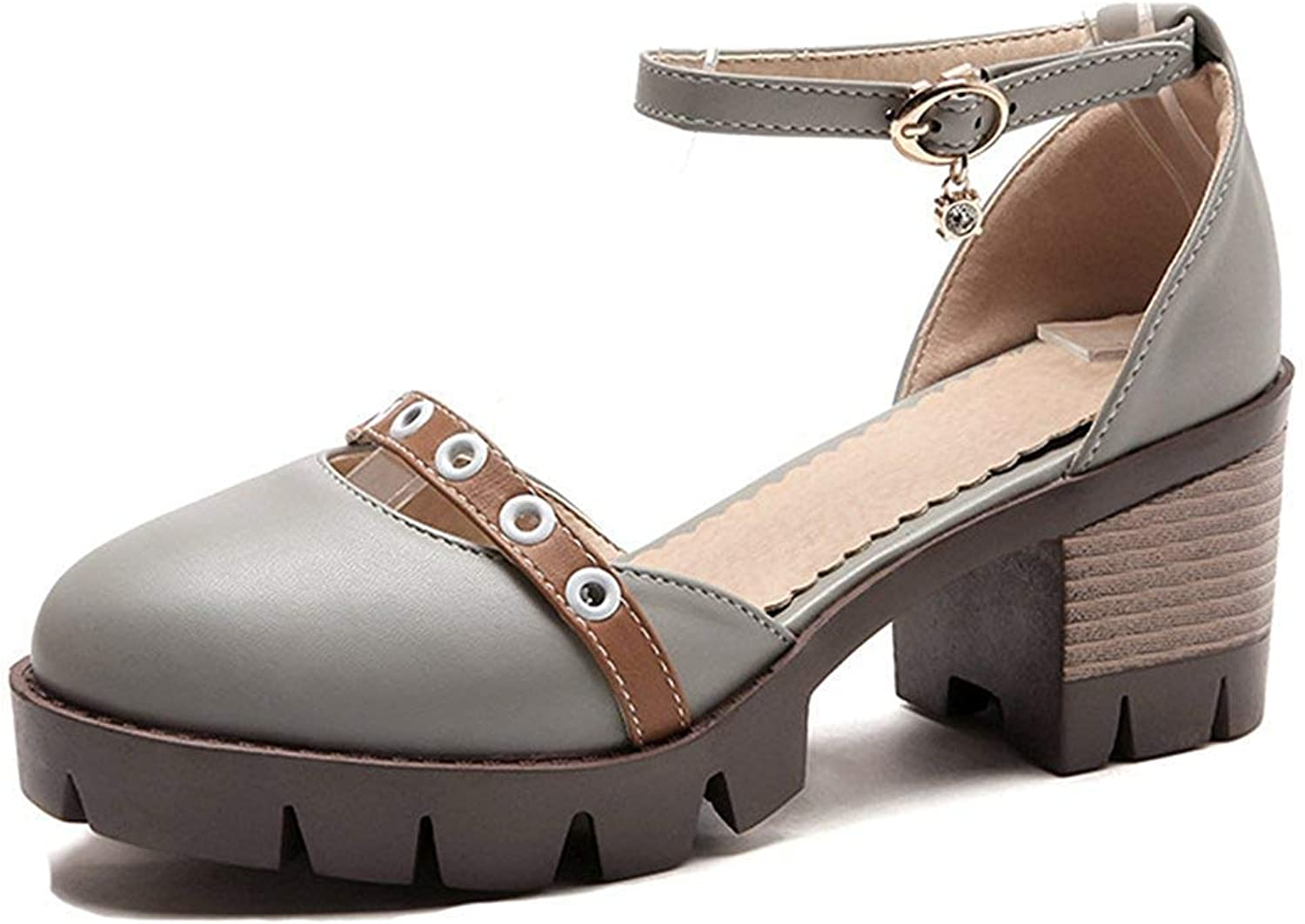 Unm Women's Closed Toe Sandals with Platform - Comfy Buckled Ankle Strap - D'Orsay Mid Stacked Heels