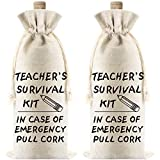 2 Pieces Teacher's Survival Kit Wine Bags Present for Teacher Gift for Coworkers Teacher Appreciation Gifts Canvas Wine Bottle Bags with Drawstrings for Graduation Party