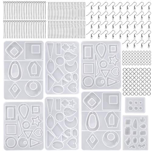 Moldes de Resina Silicona Epoxi Molde Resina Crafting Kit con Ganchos Anillos de Salto para Hacer Joyerias Collar Pendiente Fabricación de Colgante