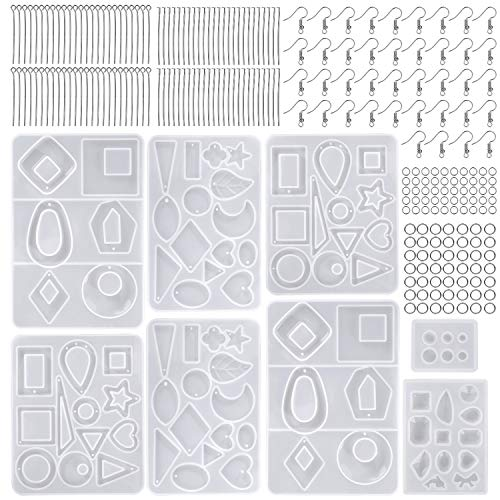Moldes de Resina Silicona Epoxi Molde Resina Crafting Kit con Ganchos Anillos de Salto para Hacer...