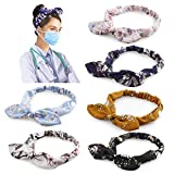 6 Pcs Hogoo Print Headbands with Buttons for Mask Boho Bow Elastic Headband Non Slip Head Bands Hair Accessories for Nurses Doctors Women Girls
