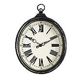 Vinteen Gran Reloj de Pared Numeral Romano Reloj Mudo Silencioso Tranquilo Vintage Imitación de Hierro Oval Anillos Horologe Sala de Estar Dormitorio American Country Quartz Reloj de Pared Timekeeper