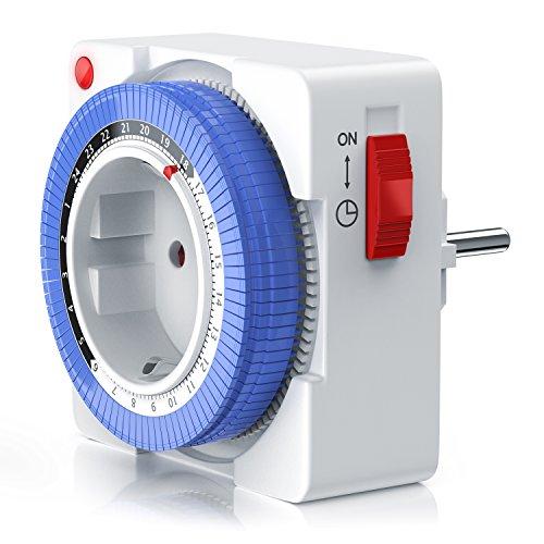 Arendo - Reloj mecánico conmutador 24 h - temporizador plug in de 24 h - 96 segmentos de conmutación - potenciómetro para la indicación de la hora - indicador de estado