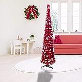 Árbol de Navidad Plegable 150 cm,Árbol Artificial Telescópico Navidad decoración Interior y Exterior para Vacaciones,Apartamentos,Fiestas,oficinas,chimeneas(Rojo)