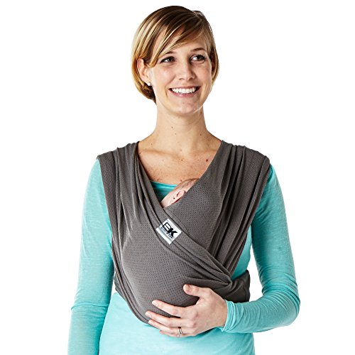 Baby K'tan Breeze Baby Wrap Carrier, Infant and Child Sling - Simple PreWrapped Holder for Babywearing-No Tying or Rings-Carry Newborn up to 35 lbs, Charcoal, X-Small (W Dress 2-4 / M Jacket up to 36)
