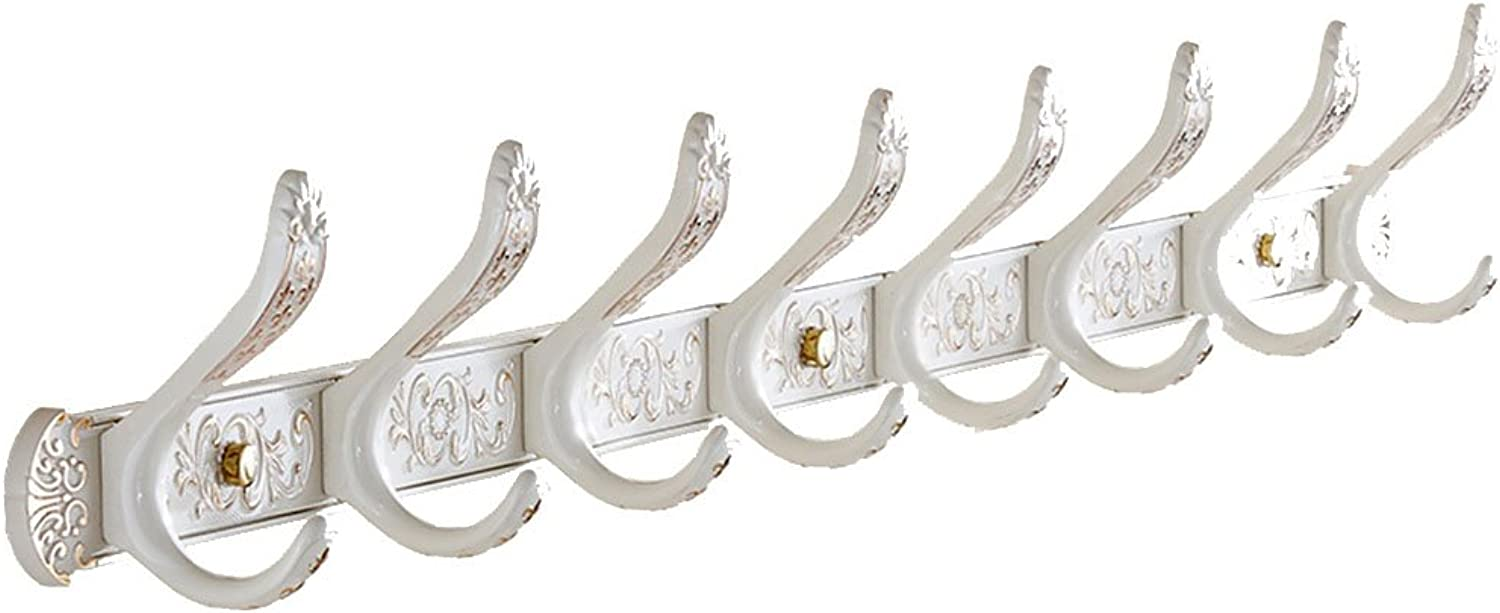 Coat Rack Wall Mounted Vintage White Printing Clothes Hat Holder Luxury Hook (Size   85cm(8 Hook))